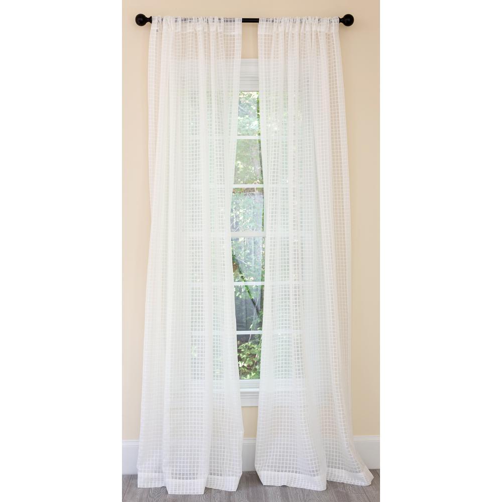 Bonita Plaid Sheer Single Rod Pocket Curtain Panel in White - 52 in. x 96 in.