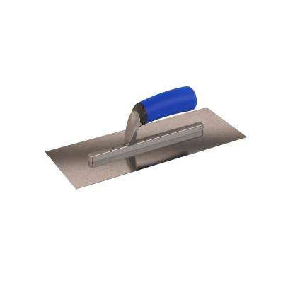 13 in. x 5 in. Long Shank Square End Finishing Trowel with Comfort Grip Handle
