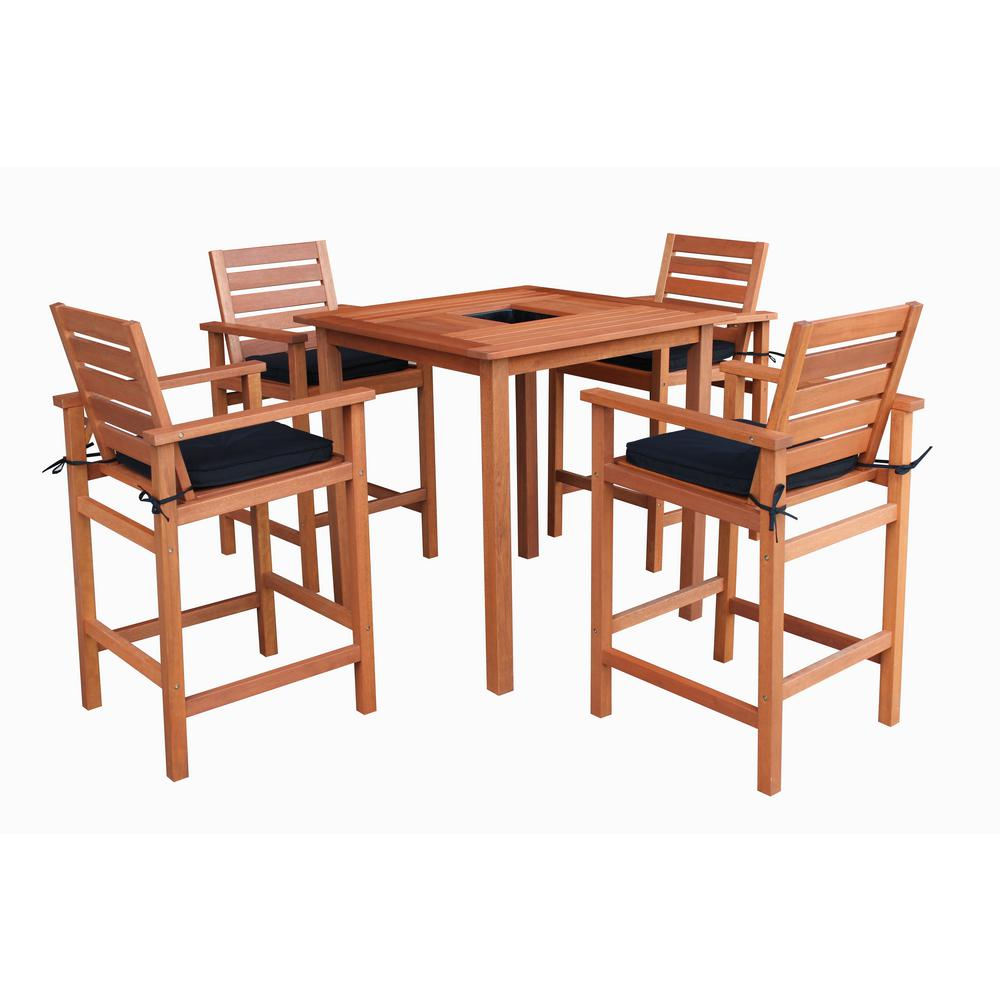 Lautan Bronte 5 Piece Wood Outdoor Bar Height Dining Set With Black Cushions And Inset Cooler