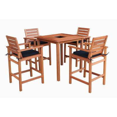 Bronte 5-Piece Wood Outdoor Bar Height Dining Set with Black Cushions and Inset Cooler