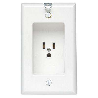 15 Amp Residential Grade 1-Gang Recessed Single Outlet with Clocked Hanger Hook, White