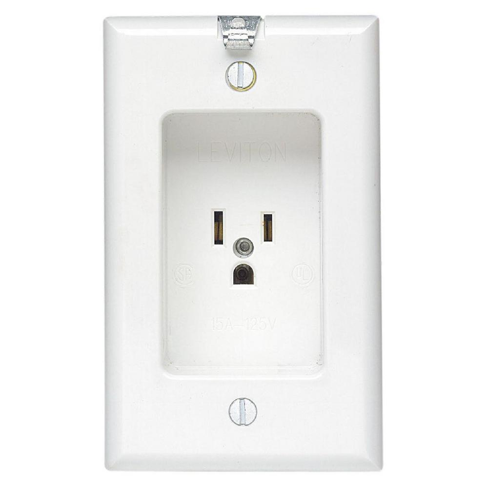 15 Amp Residential Grade 1-Gang Recessed Single Outlet with Clocked Hanger