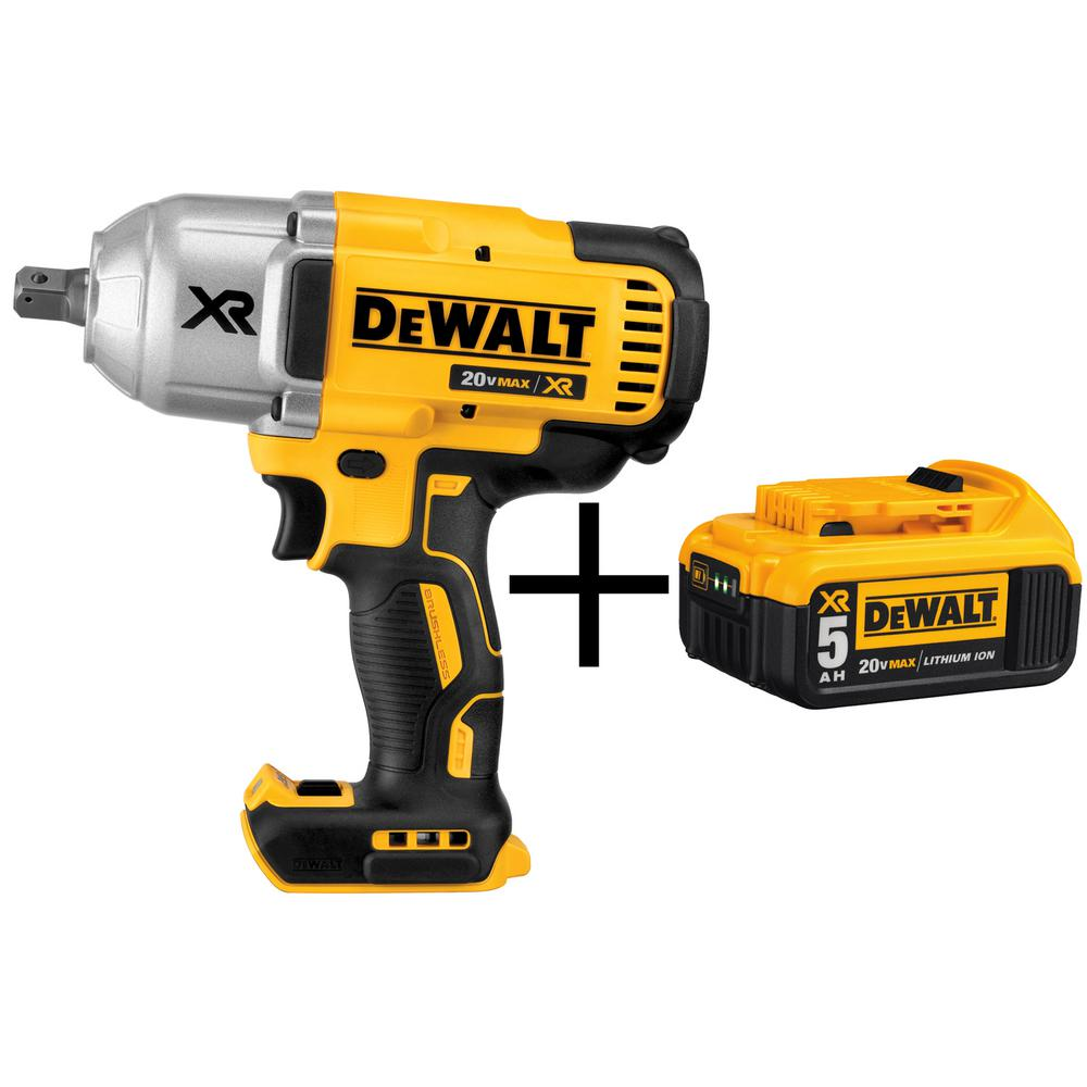 DEWALT 20-Volt MAX XR Lithium-Ion Cordless 1/2 in. Impact Wrench Kit with Detent Pin Anvil (Tool-Only) with Free Battery 5Ah