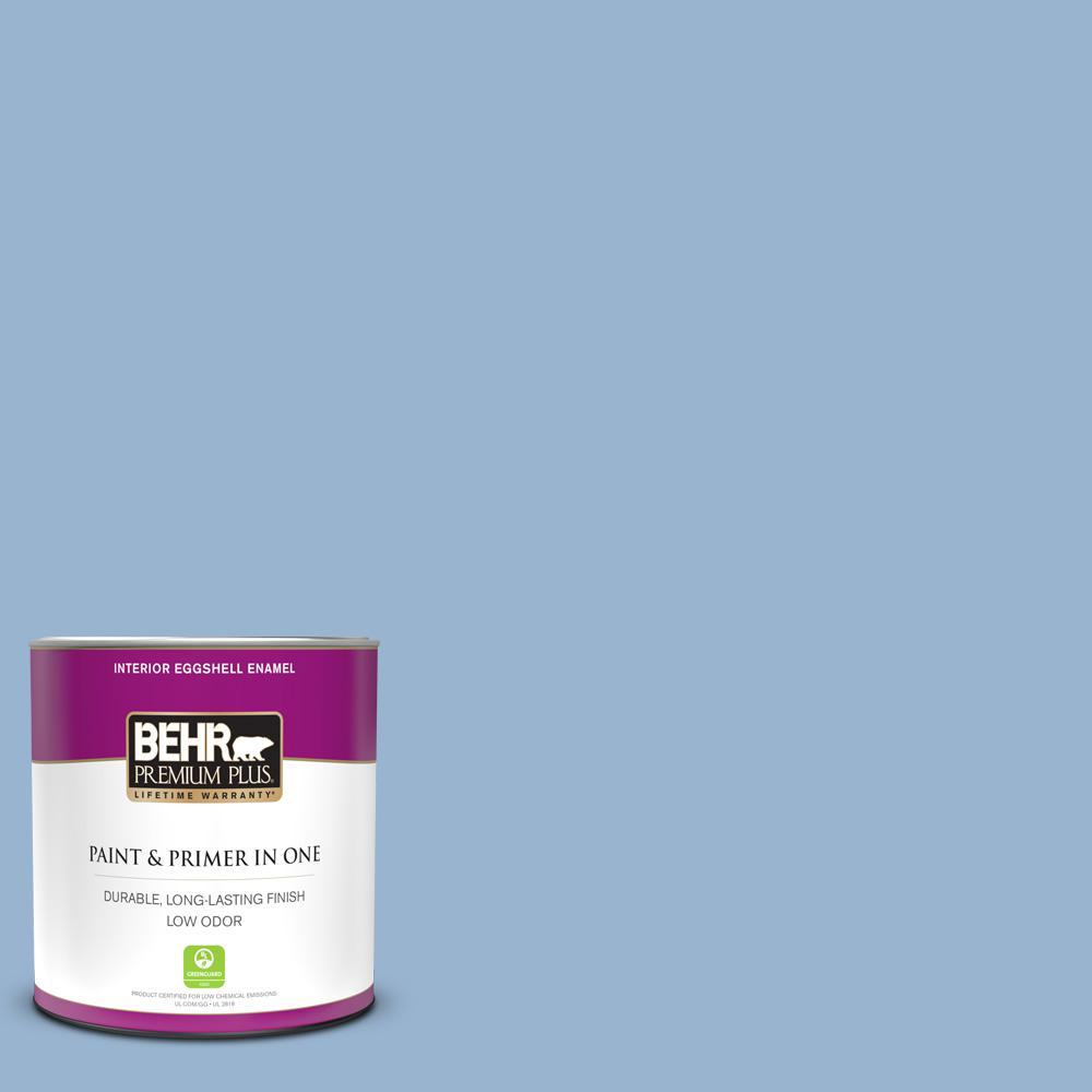 BEHR PREMIUM PLUS 1 qt. #PPU14-10 Blue Suede Eggshell Enamel Low Odor Interior Paint and Primer in One