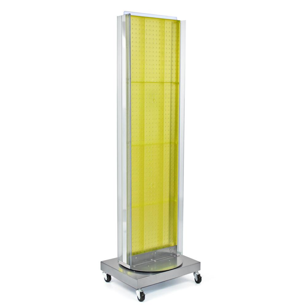 Azar Displays 60 in. H x 16 in. W Pegboard Floor Display in Yellow with C-Channel Sides on a Revolving Base