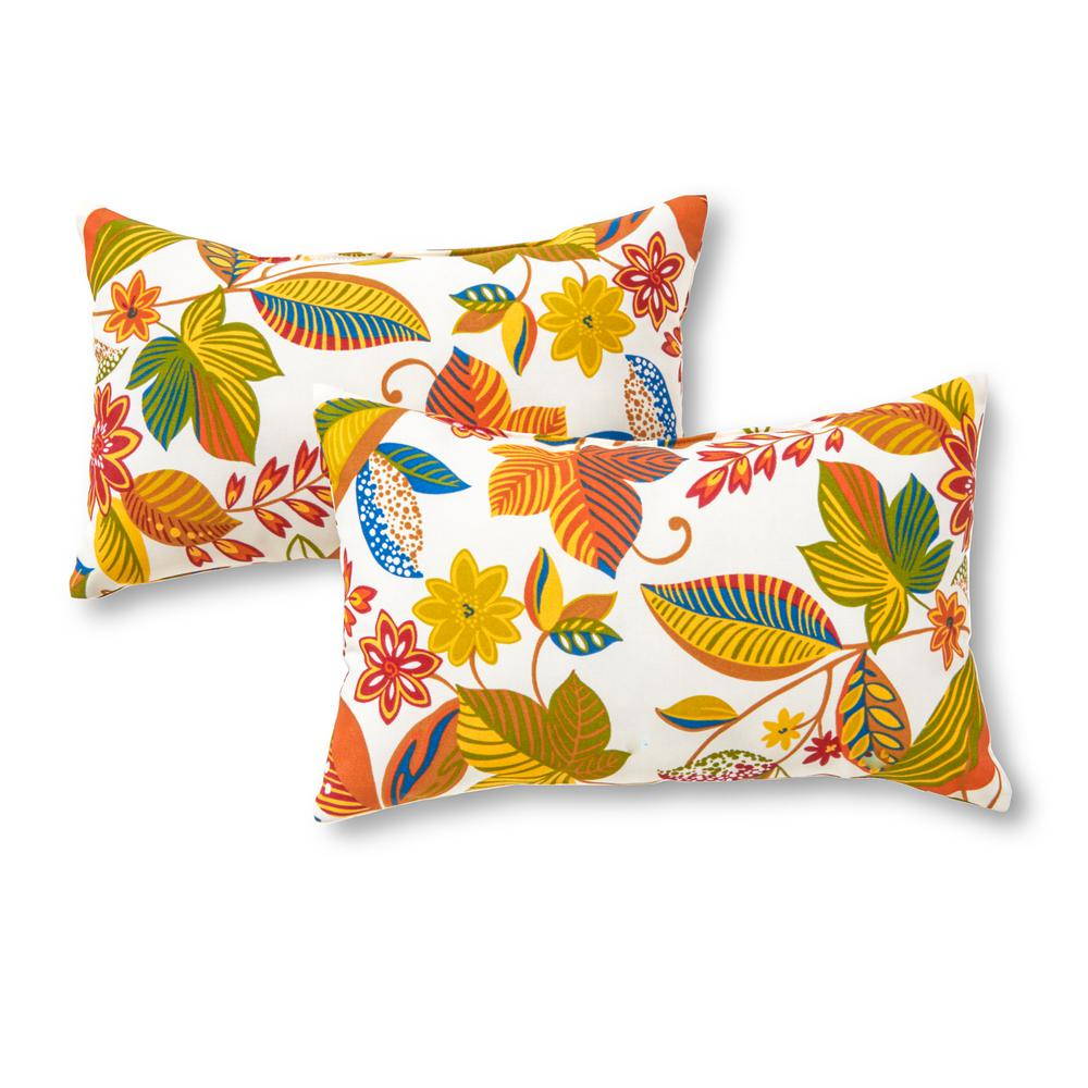 Greendale Home Fashions Esprit Floral Lumbar Outdoor Throw Pillow (2-Pack)