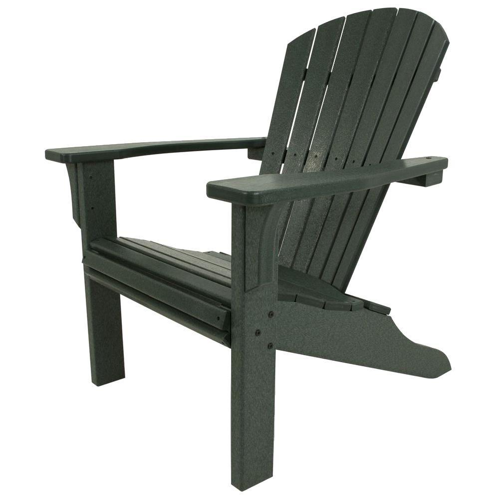 Seashell Green Plastic Patio Adirondack Chair