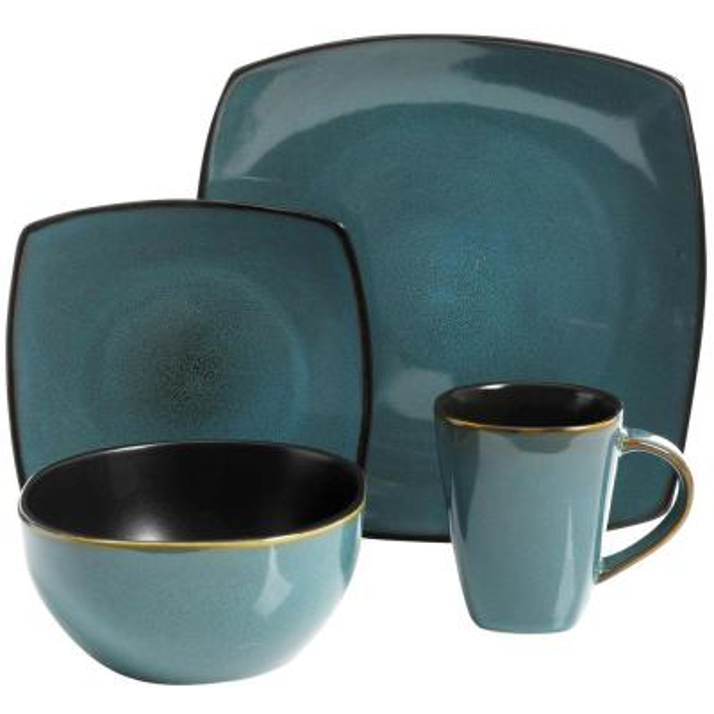 Soho Lounge 16-Piece Contemporary Teal Ceramic Stone Dinnerware Set (Service for 4)