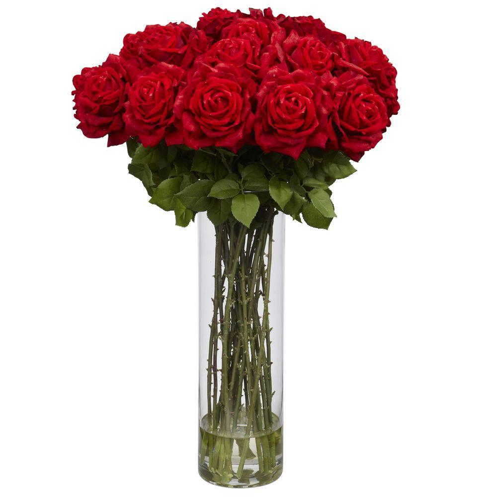 Nearly Natural 31 in. H Red Giant Rose Silk Flower Arrangement