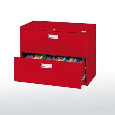600 Series 28 in. H x 36 in. W x 19 in. D 2-Drawer Lateral File Cabinet in Red