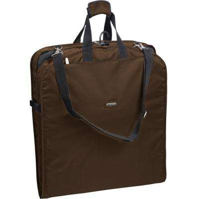 42 in. Brown Suit Length Carry-On Garment Bag with 2-Pockets and Shoulder Strap