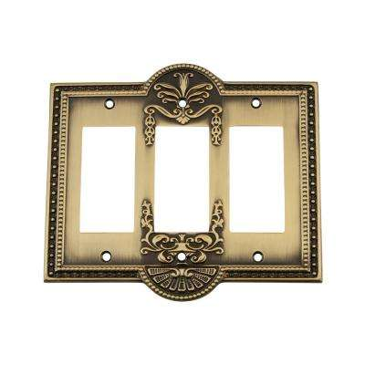 Meadows Switch Plate with Triple Rocker in Antique Brass