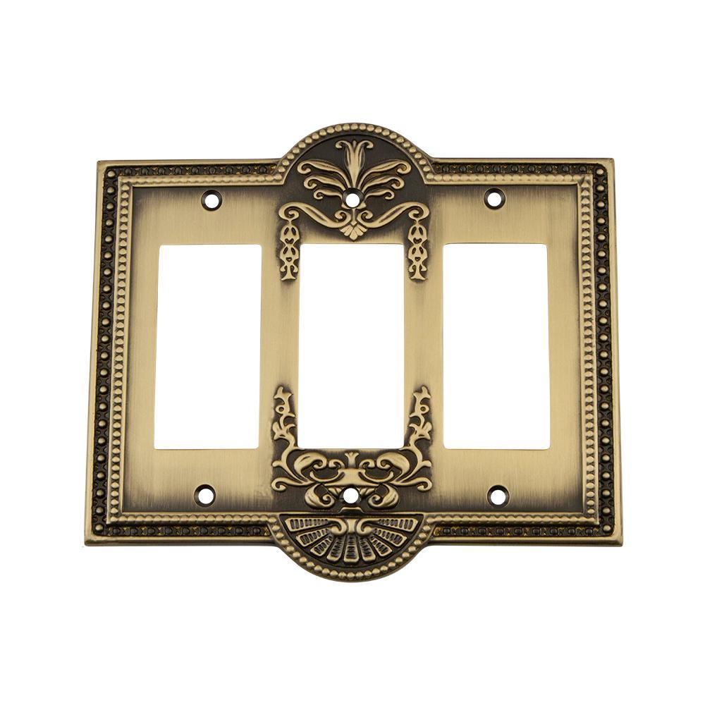 Meadows Switch Plate with Triple Rocker in Antique Brass