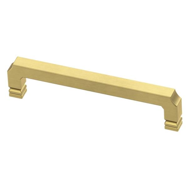Notched 5-1/16 in. (128mm) Center-to-Center Brushed Brass Drawer Pull