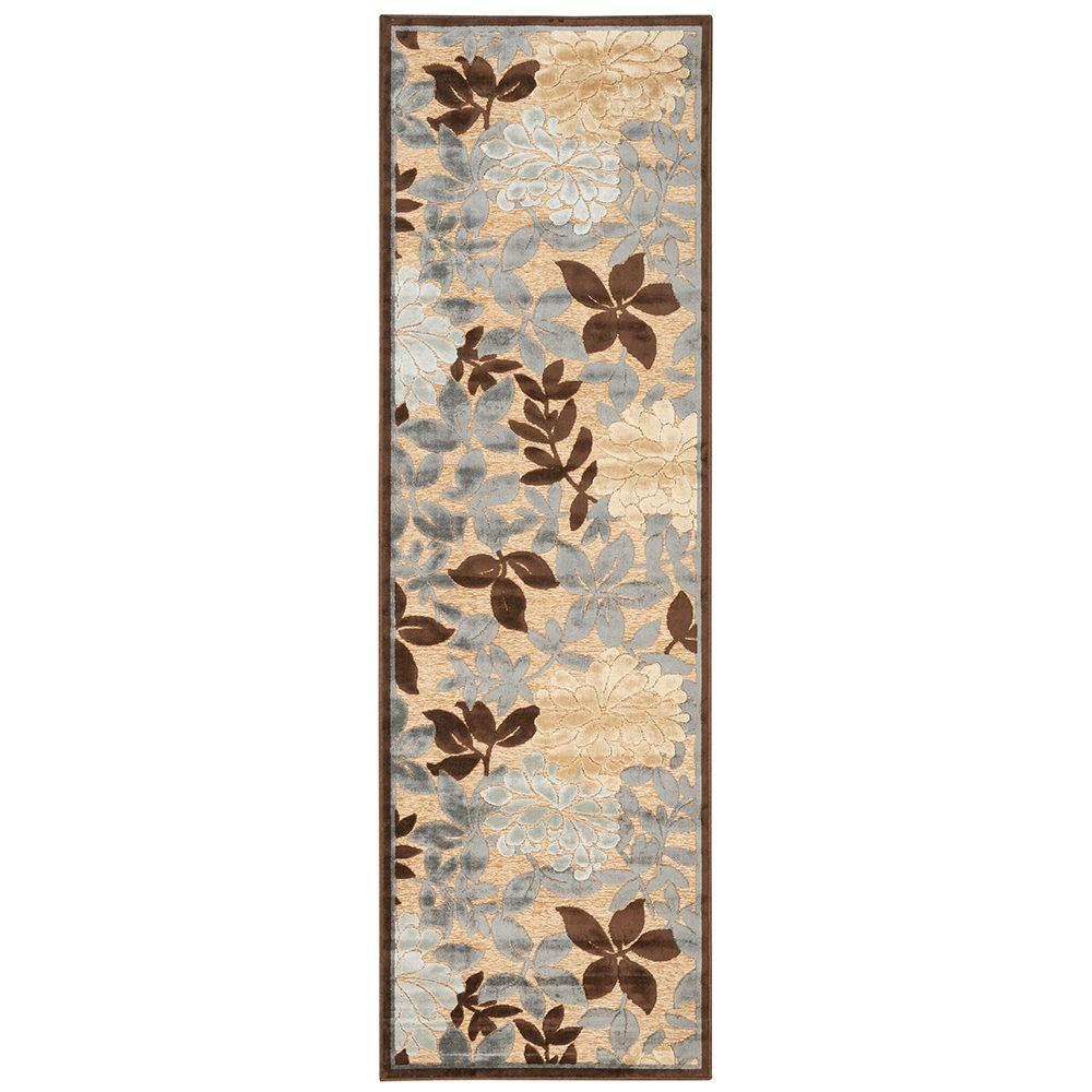 Feizy Saphir Ivory/Dark Gray 2 ft. 6 in. x 8 ft. Indoor Rug Runner