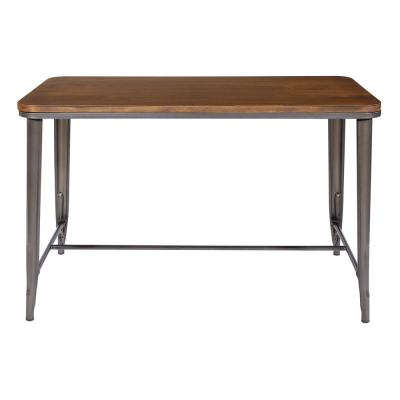 30 in. Matte Gunmetal Grey Rectangle Dining Table with Ash Wood Top