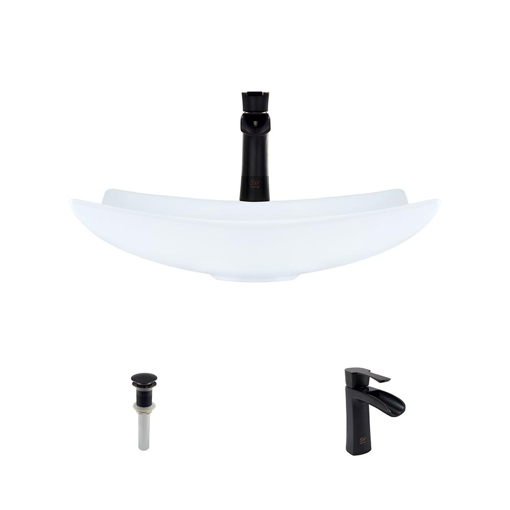 MR Direct Porcelain Vessel Sink in White with 732 Faucet ...