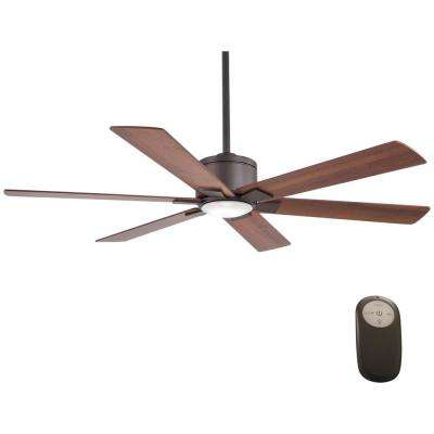 Renwick 54 in. Integrated LED Indoor Oil Rubbed Bronze Ceiling Fan with Remote Control works with Google and Alexa