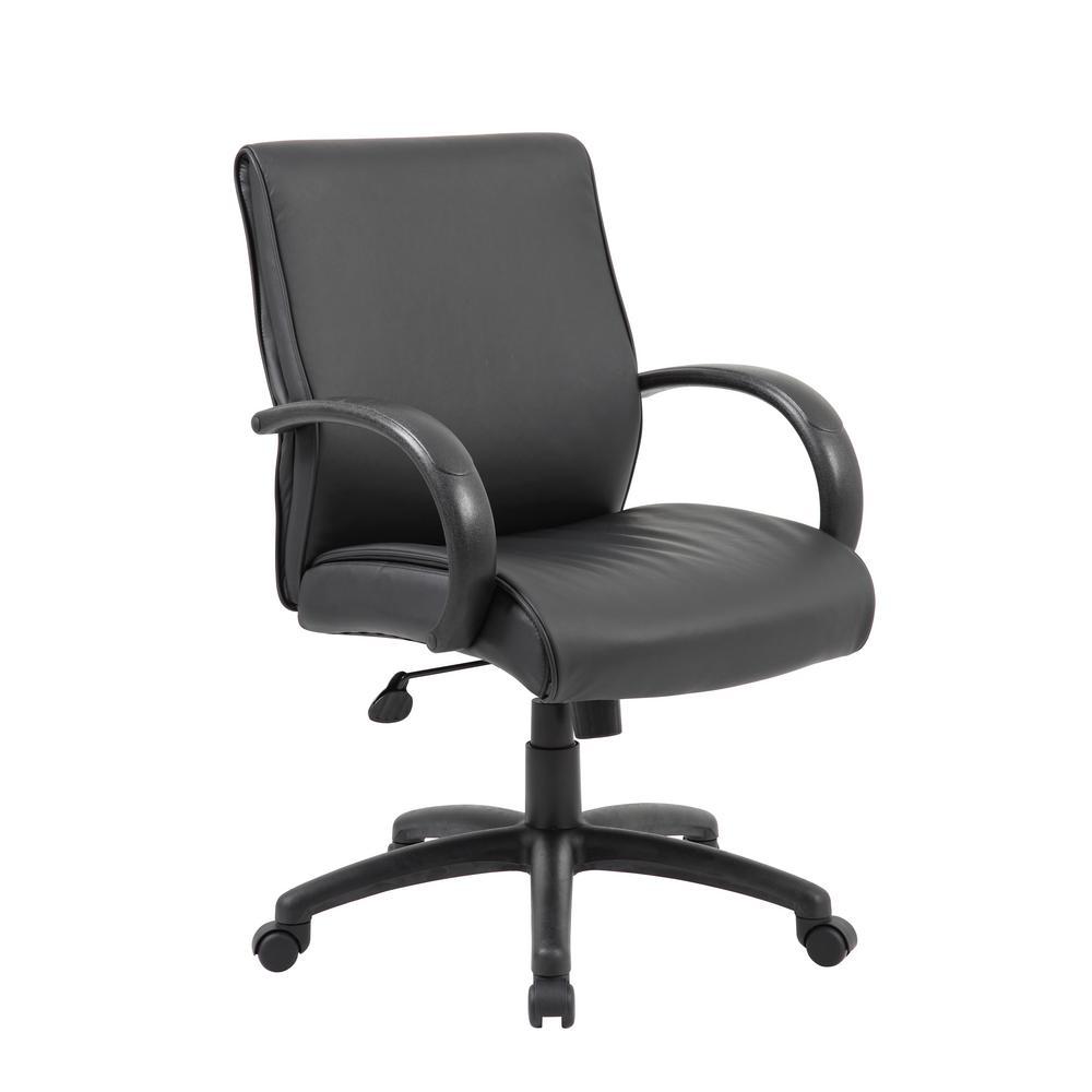 Boss Black Upholstery Mid-Back Executive Chair B7716-BK