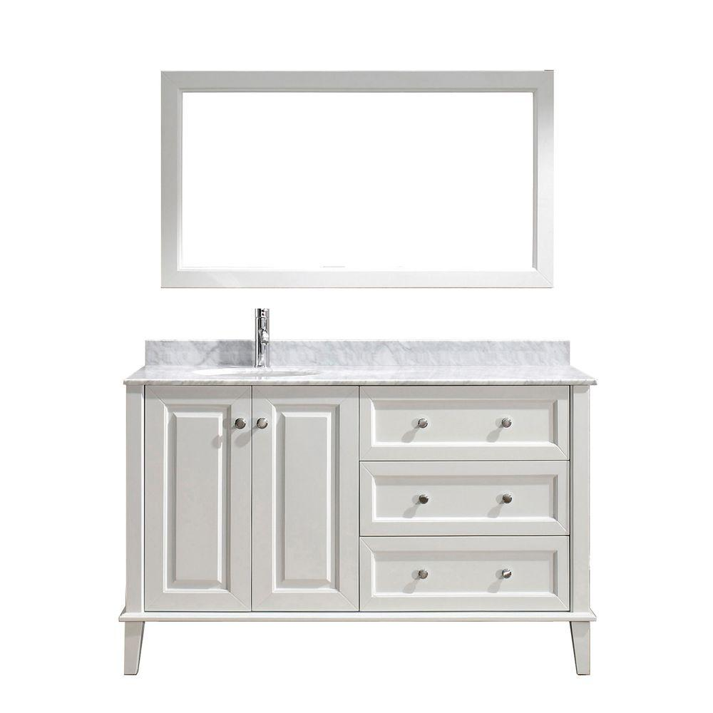 Studio Bathe Lily 55 In. Vanity In White With Marble Vanity Top In White And