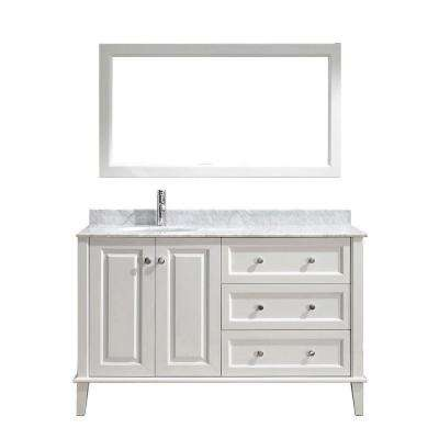 Lily 55 in. Vanity in White with Marble Vanity Top in White and Mirror