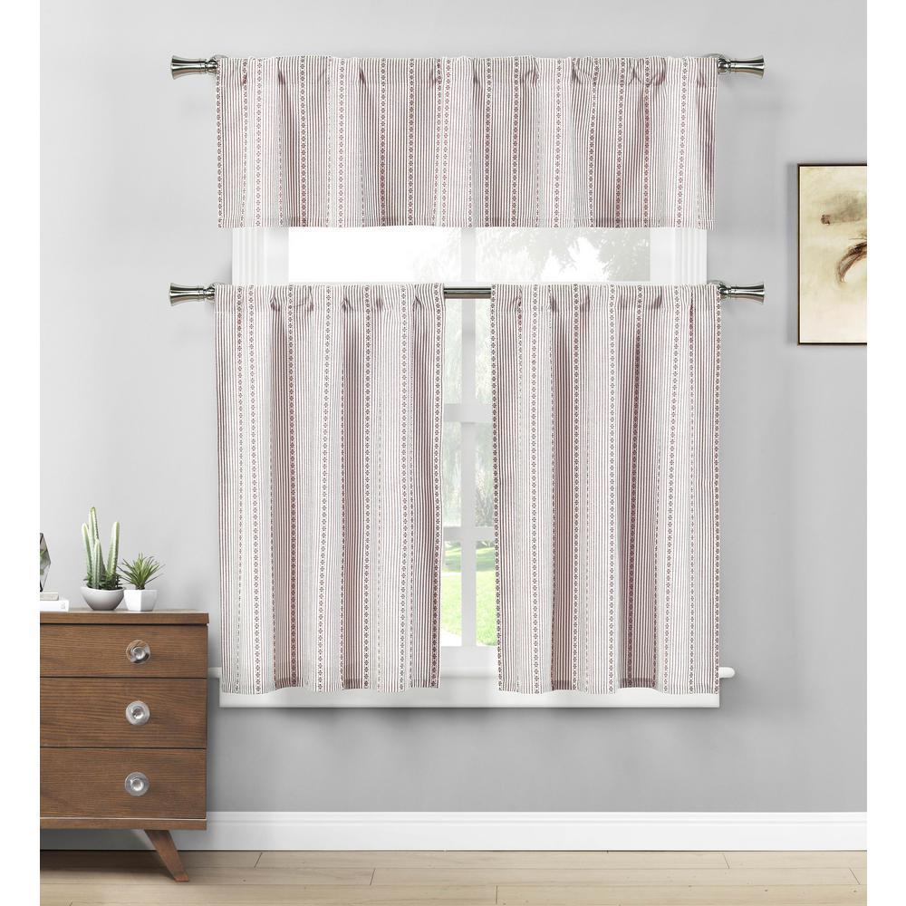 Kylie Burgundy-White Kitchen Curtain Set - 58 in. W x 15 in. L in (3-Piece)