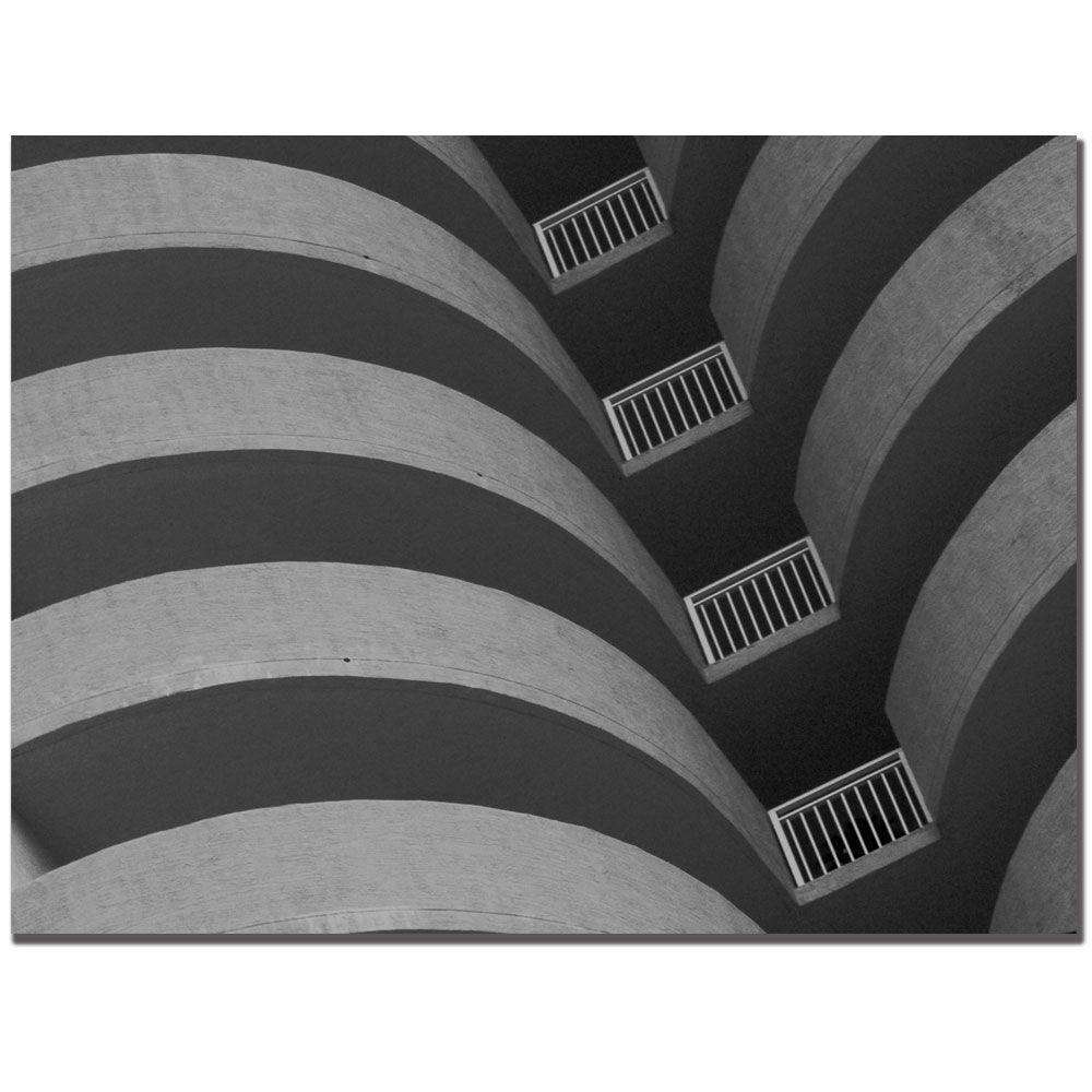 18 in. x 24 in. Curves Black and White Canvas Art