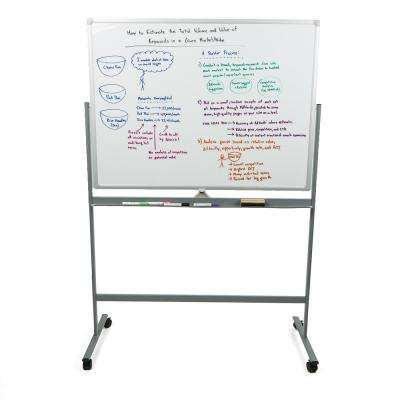48 in. x 73 in. Rolling Portable Magnetic Dry Erase White Board Reversible in White