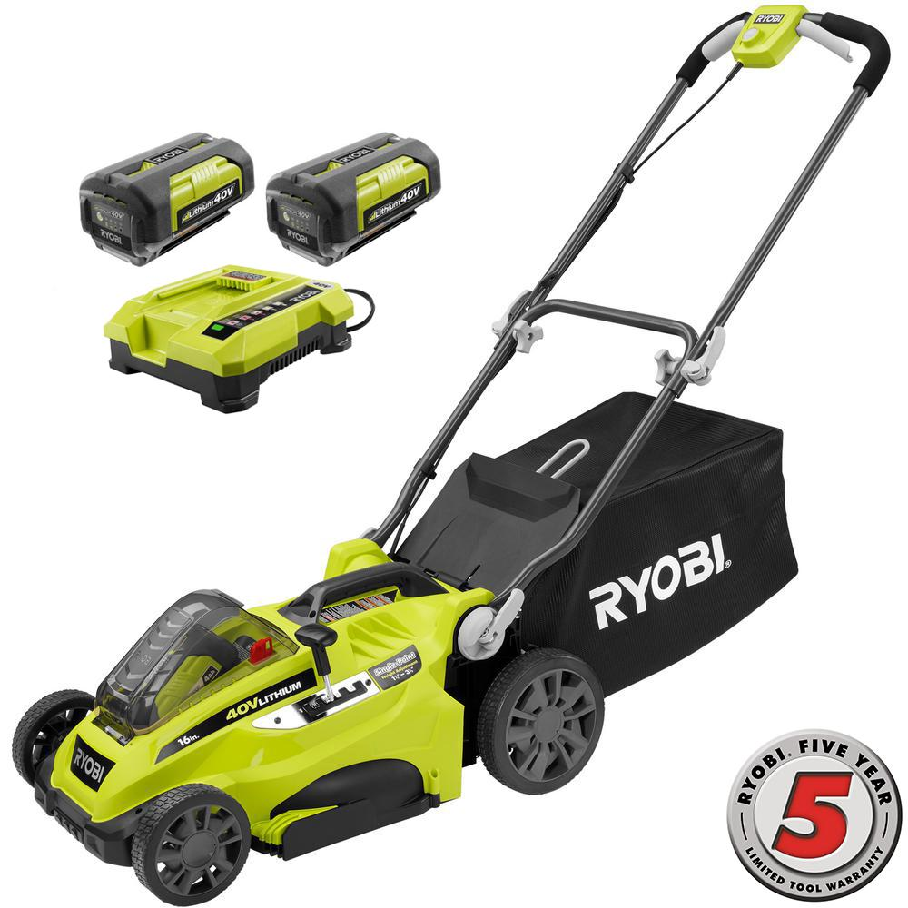 Ryobi 16 in. 40-Volt Lithium-ion Cordless Walk Behind Battery Push Mower - Two 2.6 Ah Batteries/Charger Included