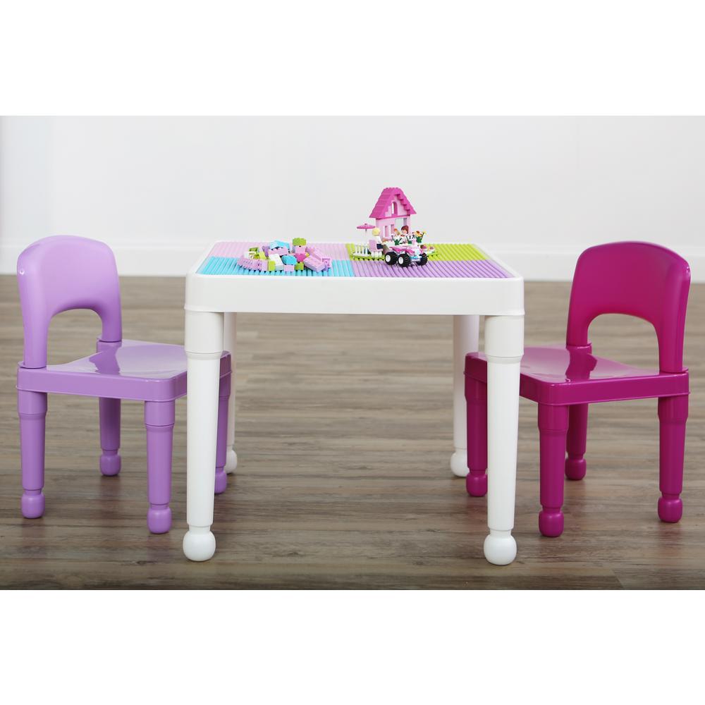 Tot Tutors Playtime 3-Piece White/Pink/Purple 2-in-1  sc 1 st  Home Depot & Tot Tutors Playtime 3-Piece White/Pink/Purple 2-in-1 Plastic Lego ...