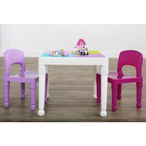 Playtime 3-Piece White/Pink/Purple 2-in-1 Plastic Lego-Compatible Kids Activity Table and 2-Chairs Set