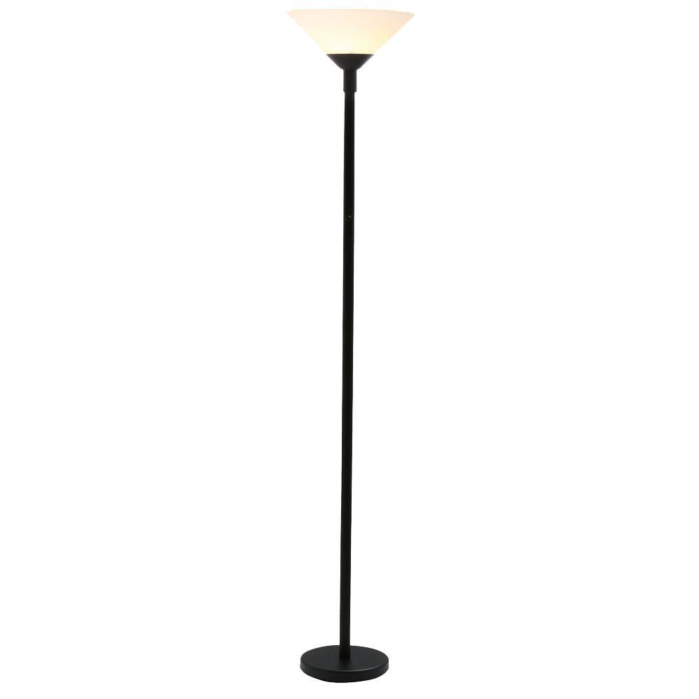Hampton bay 71 12 in black floor lamp with frosted alabaster black floor lamp with frosted alabaster shade c398 505 the home depot mozeypictures Images