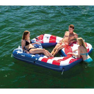 Inflatable American Flag 81 in. 2- Person Party Island Lake Raft Pool Float