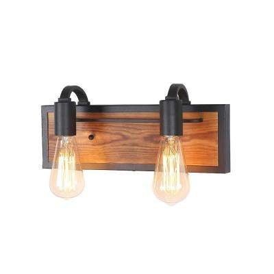 2-Light Black Rustic Vanity Lighting Wood Wall Sconce Bath Light