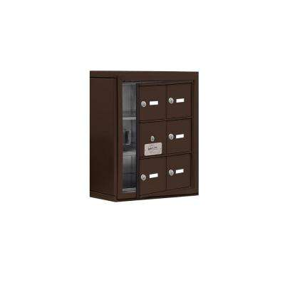 19100 Series 17.5 in. W x 20 in. H x 6.25 in. D 5 Doors Cell Phone Locker S-Mount Keyed Locks in Bronze