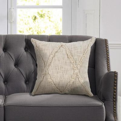 Carlton Natural Solid Hypoallergenic Polyester 20 in. x 20 in. Throw Pillow