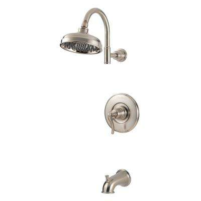 Ashfield 1-Handle 1-Spray Tub and Shower Trim Kit in Brushed Nickel (Valve Not Included)