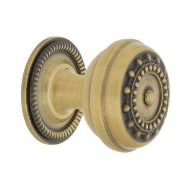 Meadows 1-3/8 in. Antique Brass Cabinet Knob with Rope Rose