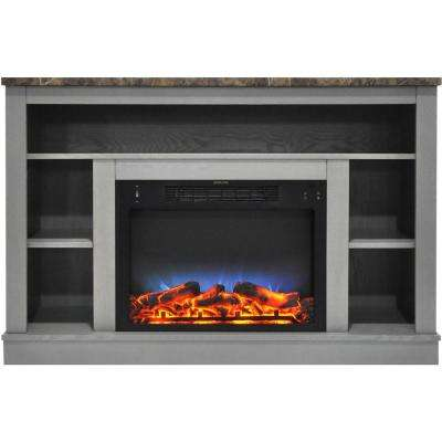 47 in. Electric Fireplace with a Multi-Color LED Insert and Gray Mantel