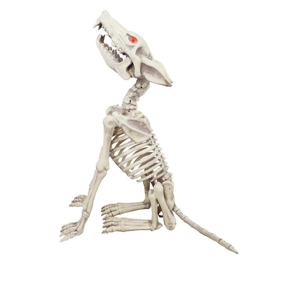 2.5 ft Animated LED Howling Skeleton Wolf