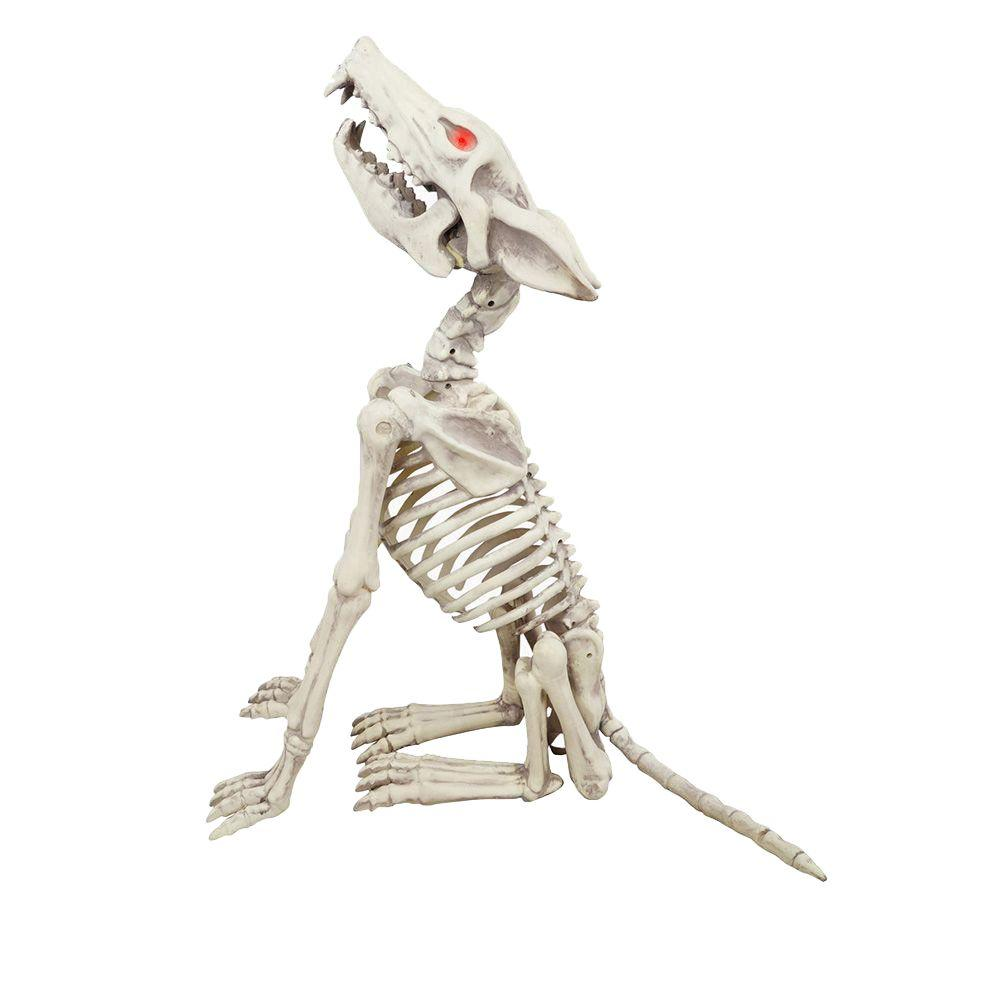 Home Accents Holiday 28 In Animated Howling Skeleton Wolf With Led