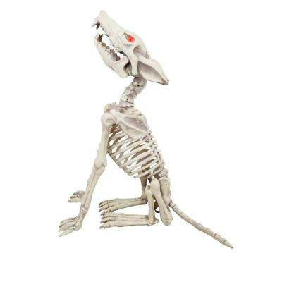28 in animated howling skeleton wolf with led illuminated eyes