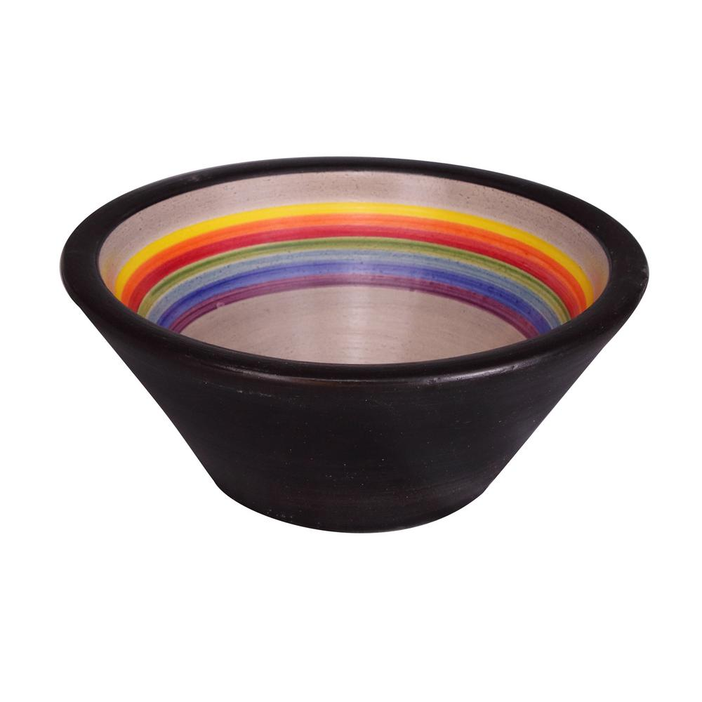 Fango 14 in. Conical Above Counter Basin in Rainbow Black
