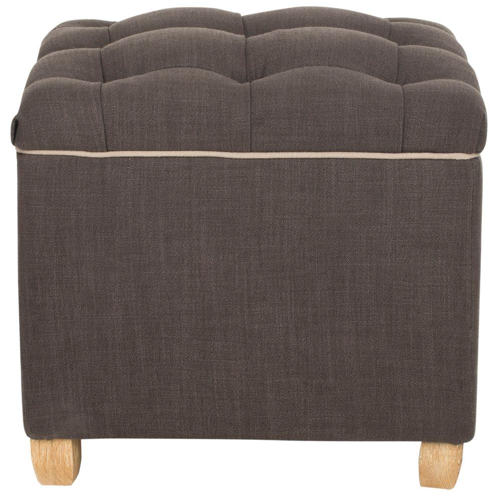 Joanie Charcoal Brown Storage Ottoman