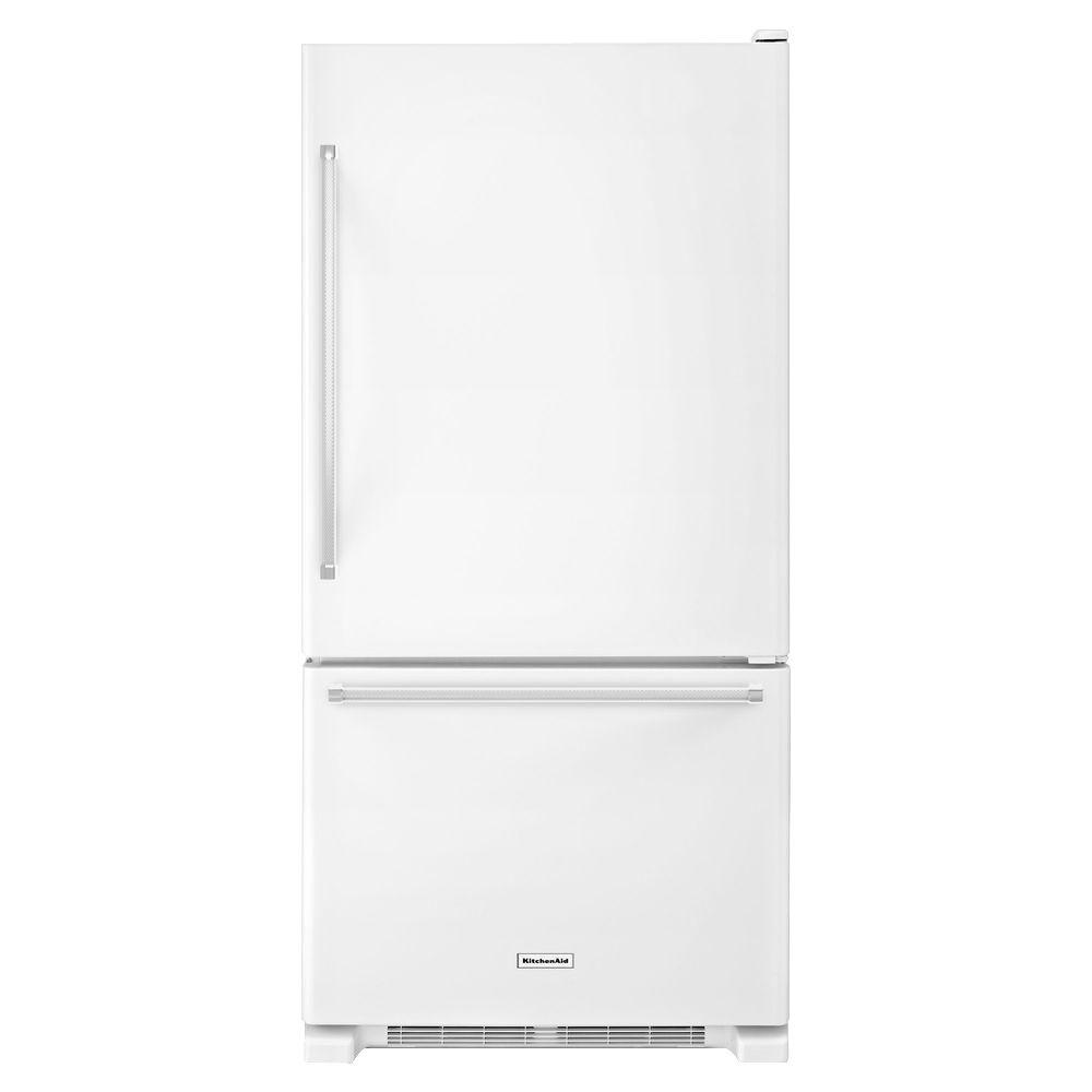 30 in. W 18.7 cu. ft. Bottom Freezer Refrigerator in White