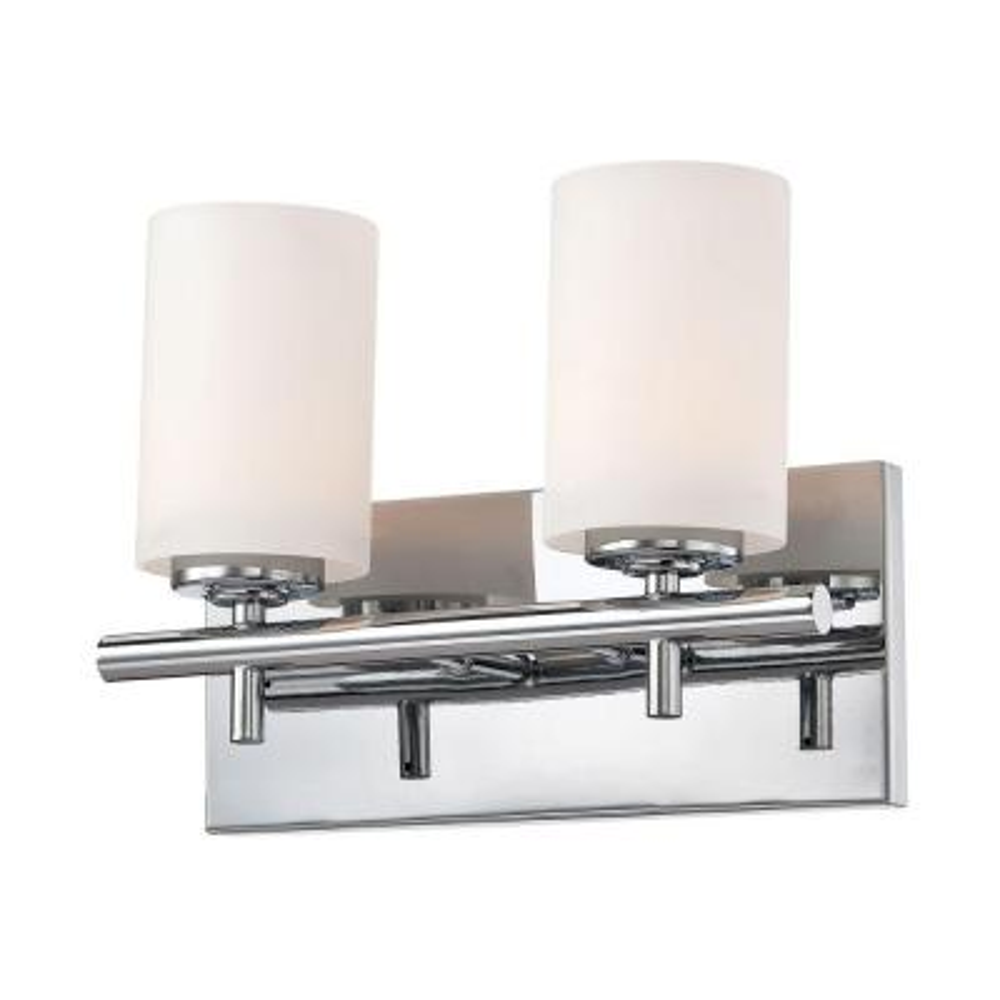 Barro 2-Light Chrome Vanity Light with White Opal Glass