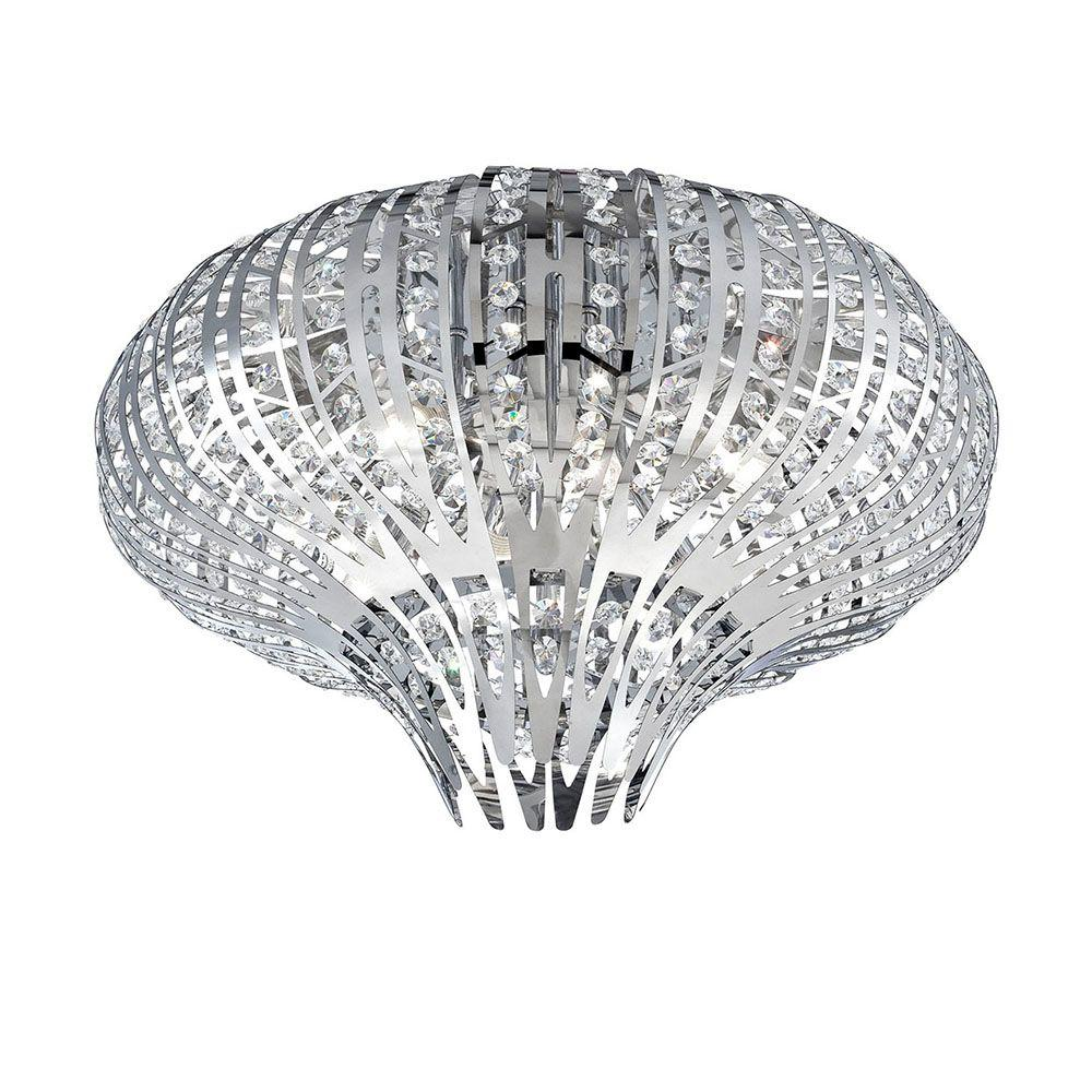 Monica Collection 6-Light Chrome and Clear Flushmount