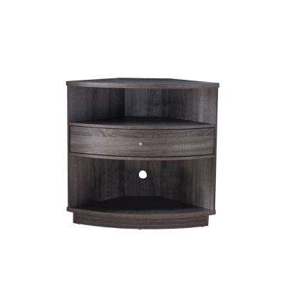 Distressed Gray Finish Wooden Corner Cabinet with 1 Drawer and 2 Shelves