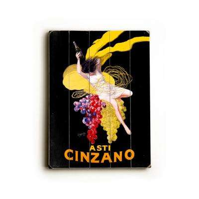 "12 in. x 16 in. ""Cinzano Asti Aperitif Wine by Leonetto Cappiello ""Planked Wood"" Wall Art"
