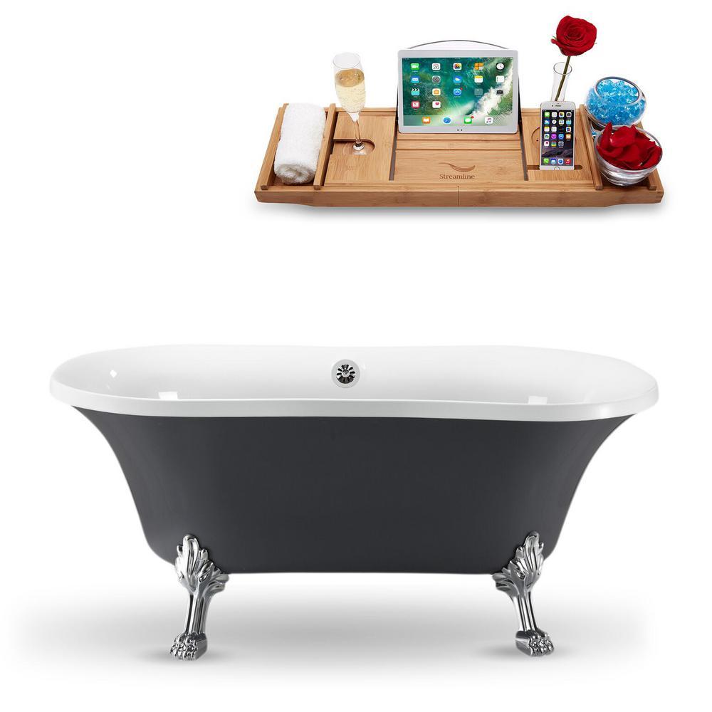 Streamline 60 in. Acrylic Fiberglass Clawfoot Non-Whirlpool Bathtub in Grey